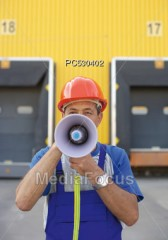 Man Talking Through Bullhorn