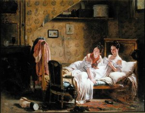 painting of two women in bed
