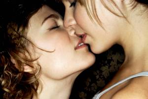 two girls about to kiss