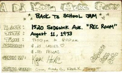 kool herc party invitation 1973