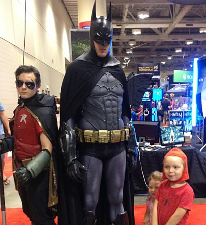 Tilda and Marshall with Batman and Robin