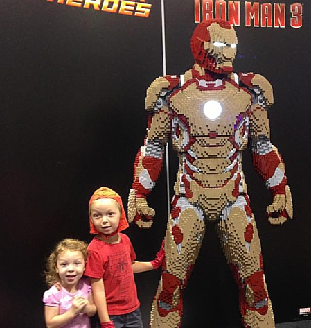 Tilda and Marshall with Lego Iron Man