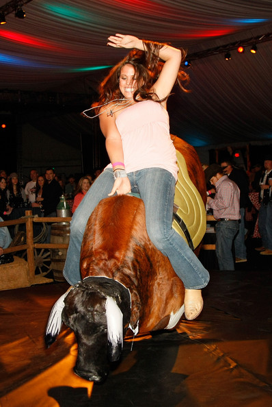 Girls mechanical bull riding