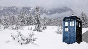 tardis in snow