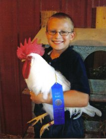kid and prize winning chicken