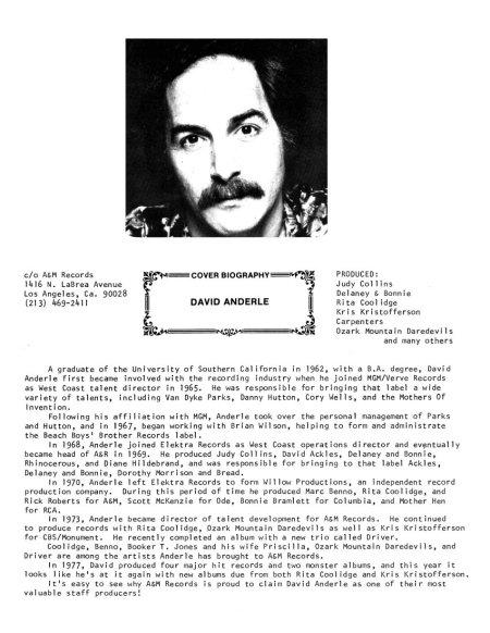 David Anderle Bio 1975