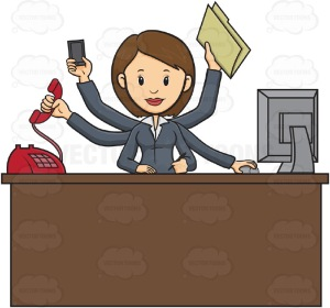 Business Woman Sitting At Desk With Multiple Arms, One Arm Answers Red Phone Call, One Arm Holds Mobile Cell Phone, One Arm Holds Folder, One Arm's Hand Operates Computer Mouse, One Hand  Hold Pen To Write And Other Arms Rests On Paper On Desk