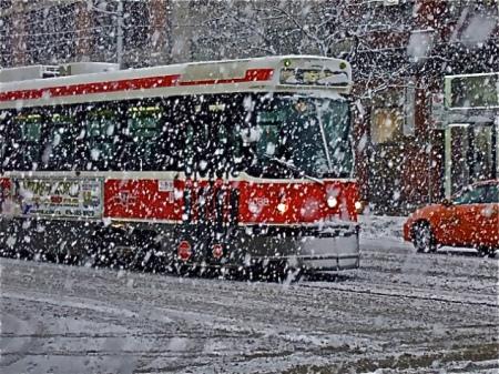 Streetcar in Toronto winter