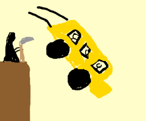 drawing of bus flying off cliff