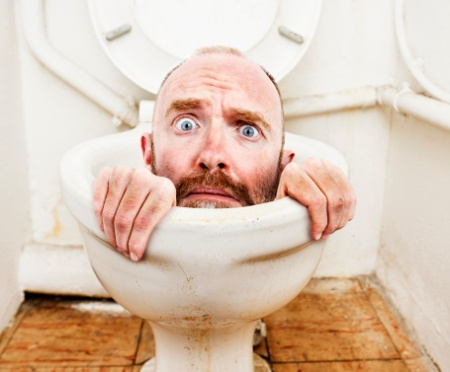 person in toilet
