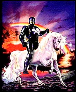 Robocop riding a Unicorn
