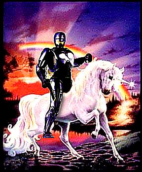 Robocop riding a Unicorn