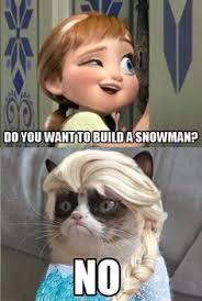 grumpy snowman cat