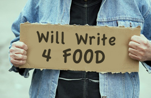 will write for food sign