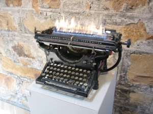 Typewriter on fire
